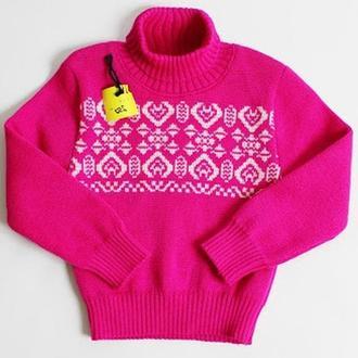Малиновый свитер с жаккардовой кокеткой