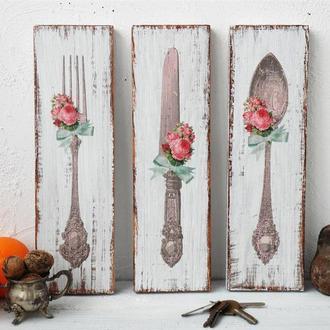 Кухонный настенный декор : ложка, вилка и нож / украшения на стену для кухни / панно для кухни