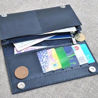 Вместительный темно-синий кошелек из натуральной кожи K41-600