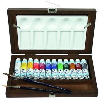 Краски акварельные Van Gogh набор 12цв. по 10мл Royal Talens в тубах, деревянный футл 20840112
