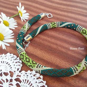 Изумрудное зеленое пэчворк ожерелье жгут из японского бисера