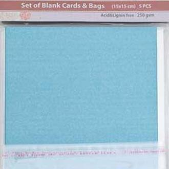 Набор заготовок для открыток 15*15 Santi 250г/м 5шт голубые перламутровые 952254