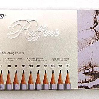 Карандаши простые, набор 12шт MARCO Raffine в металлическом пенале тверд 2H-8B 7000M-12TN