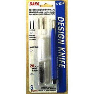 Нож макетный DAFA пластиковая ручка, 20 сменных лезвий +2 насадки C-603P