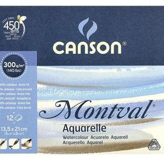Альбом для акварели Canson 13,5*21см Montval Fin 12л. 300г/м спираль CON-200807156R