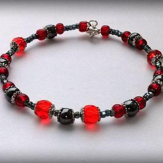 Черно-красный гематитовый браслет