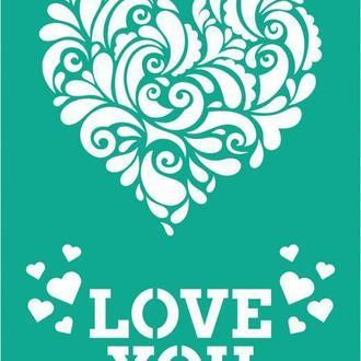 Трафарет самоклейка многоразовый 13*20см Rosa Talent №2007 Влюбленные сердца GPТ50045976