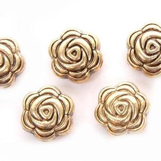 Бусины металлические Margo Розы 8*4мм, 10шт, Античное золото