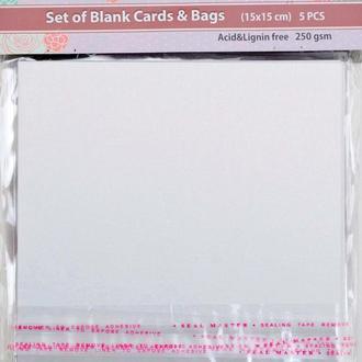 Набор заготовок для открыток 15*15 Santi 250г/м 5шт белые перламутровые 952250