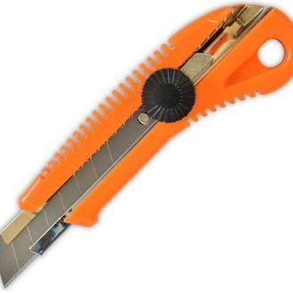 Нож канцелярский лезвие 18мм Favorit металлическая направляющая, с оборотным фиксатором 13-215