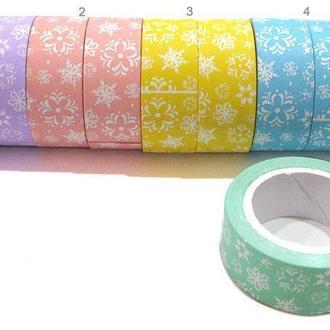 Декоративный скотч Decor 15мм*2м с узором, цвета в ассортименте DIY014