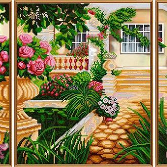 Набор для вышивания бисером Nova Sloboda триптих 1шт 30*36 см, 2шт 15*36 см В30009 Дом моей мечты
