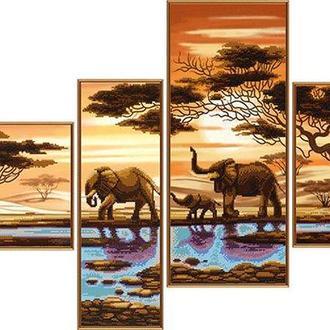 Набор для вышивания бисером Nova Sloboda полиптих 4шт 26*26, 13*40, 32*20, 19*46 см В46512 Африканские слоны
