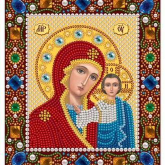 Набор для вышивания бисером Nova Sloboda 13*15 см Д6025 Богородица Казанская