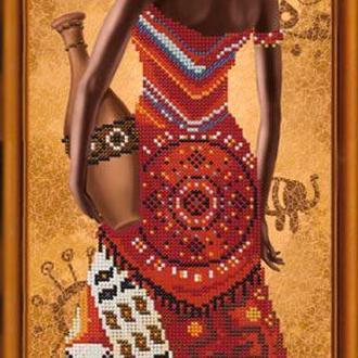 Набор для вышивания бисером Nova Sloboda 18*51 см НД2077 Африканка с лилией