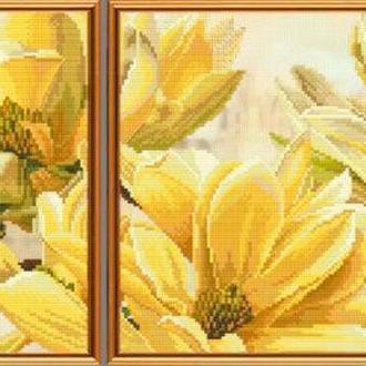 Набор для вышивания Nova Sloboda диптих 1шт 24*21 см, 1шт 34*21 см СВ6583 Магнолия Батерфляй
