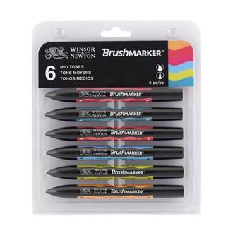 Набор двусторонних маркеров BrushMarker Winsor and Newton 6шт. Средние тона 0290033