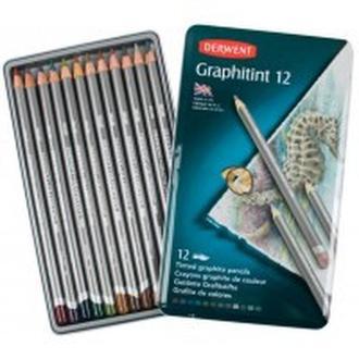Карандаши акварельные графитные набор 12цв. Derwent Graphitint металл коробка 700802