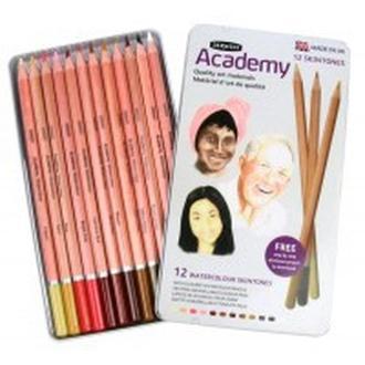 Карандаши акварельные набор 12цв. Derwent Academy Watercolour Телесные оттенки металл коробка 2300386