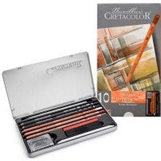 Карандаши художественные Cretacolor набор 10шт Artino в метал коробке 40020