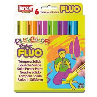 Краска выдвижная в виде мелка INSTANT Playcolor Pocet fluo набор 6цв. 10421
