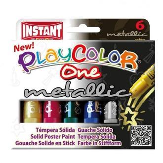 Краска выдвижная в виде мелка INSTANT Playcolor one metallic набор 6цв. 10321