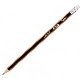 Карандаш простой графитный Maped Black Peps 2B с ластиком 851722