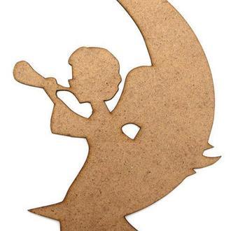 Заготовка для декорирования набор резных фигур 3шт (ДВП 3мм) Ангел на месяце 16,5*12см 4801129