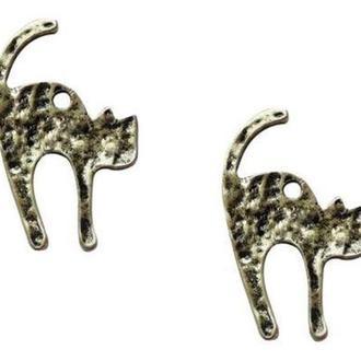 Подвеска металлическая, Кот 16*27*1,5мм 6шт Античное серебро, Margo