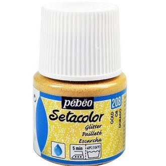 Краска по светлой ткани Pebeo Setacolor Glitter не растекающаяся 45мл Золотой Глиттер P-329208