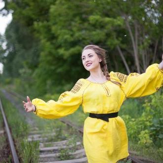 Этническое платье, туника с карманами в стиле Boho-chic