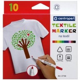 Маркер для ткани Centropen Textile набор 10 цв. 2мм 2739.10