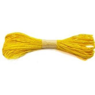 Веревочка бумажная 30 метров d:1,5-2мм Желтая яркая 8174