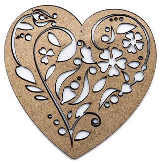 Заготовка для декорирования набор резных фигур 2шт (МДФ) Сердце-6 10*10см 4801143