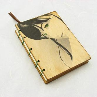 Стильный деревянный блокнот ручной работы