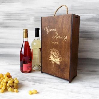 "Упаковка для вина на 2 бутылки ""Роза"""
