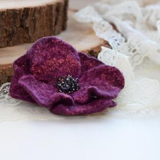 Брошка квітка стильна валяна із шерсті брошь цветок ексклюзивний подарунок подарок