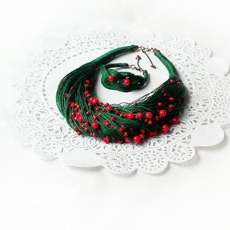 Набор украшений из натурального итальянского лтна: колье и браслет