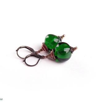 Серьги фриформ зеленые лэмпворк