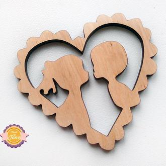 Фигурная накладка (шильда) Влюбленные сердца фигурные
