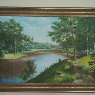 """Картина маслом на холсте в раме """"Пейзаж с соснами"""""""