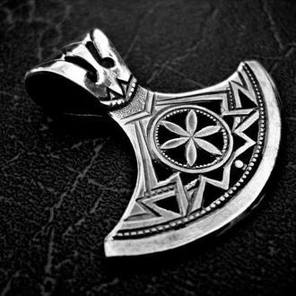 Кулон-Оберіг «СОКИРА ПЕРУНА-1» (Великий, срібло)