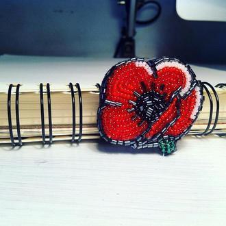Брошь мак - brooch - вышивка ручной работы