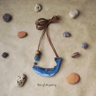 Подвеска голубой кит, длинная подвеска, кулон, украшение на шею