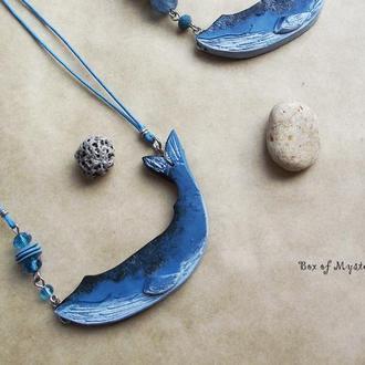 Подвеска кит, длинная подвеска, кулон, украшение на шею