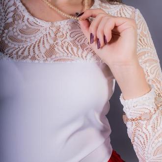 Неймовірна біла блуза з гіпюром