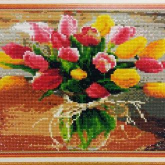 """Алмазная техника мозаика, рисование камнями, алмазная вышивка """"Тюльпаны"""" идеальный подарок 8 марта"""