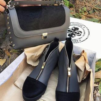 Кожаная сумка с натуральным стриженым мехом