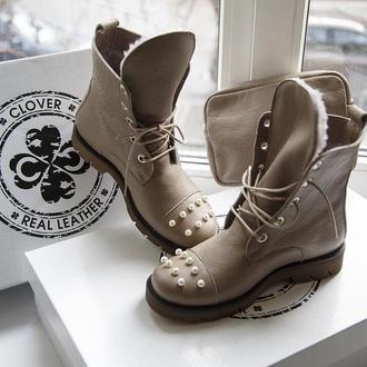 Эксклюзивные зимние ботинки с жемчугом