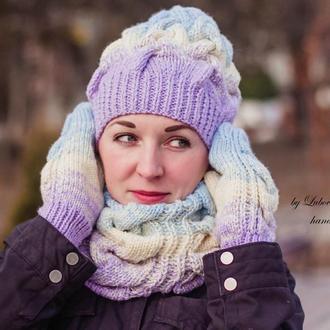 вязаные шапки косами купить изделие ручной работы украина